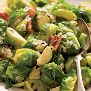 Sautéed Brussels Sprouts with Bacon and Onion